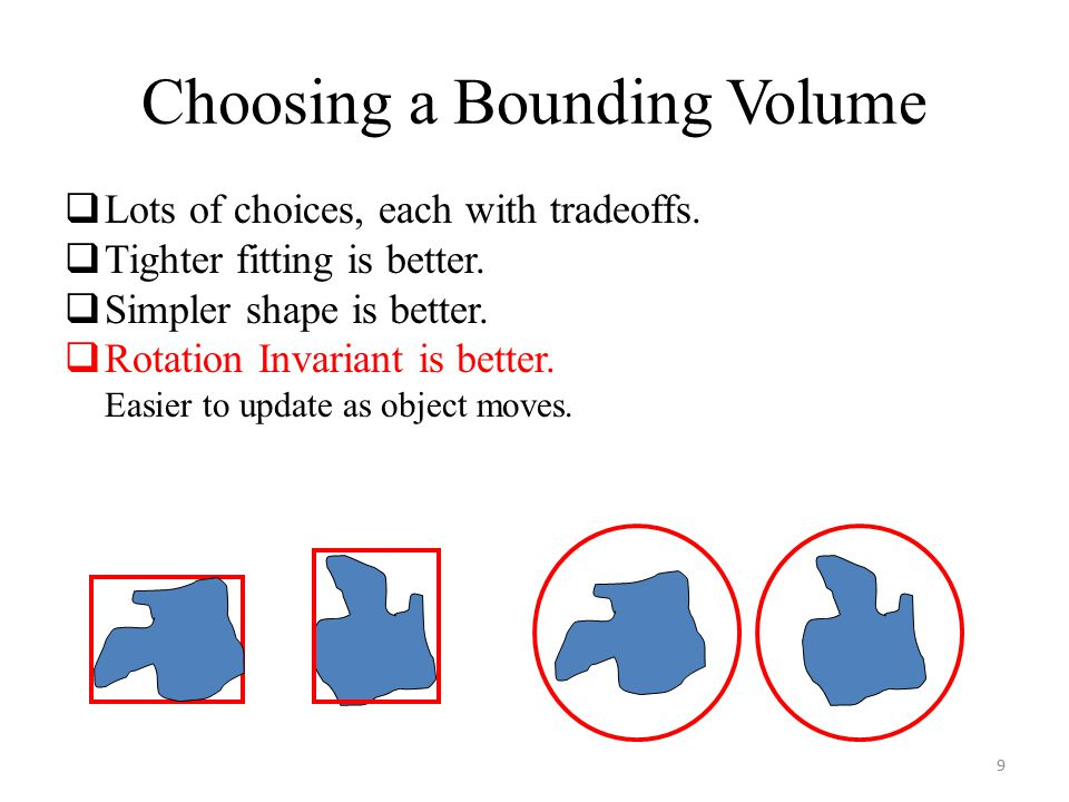 Choosing a Bounding Volume  Lots of choices, each with tradeoffs.