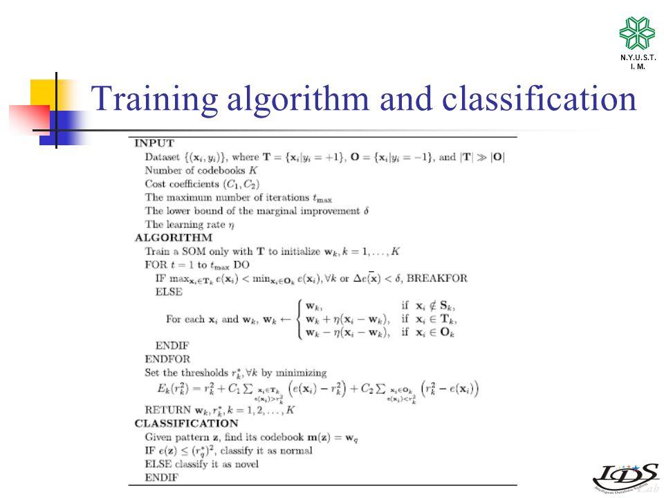 N.Y.U.S.T. I. M. Training algorithm and classification