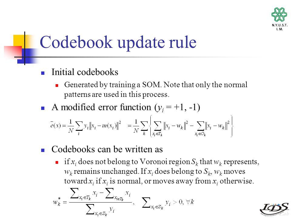N.Y.U.S.T. I. M. Codebook update rule Initial codebooks Generated by training a SOM.