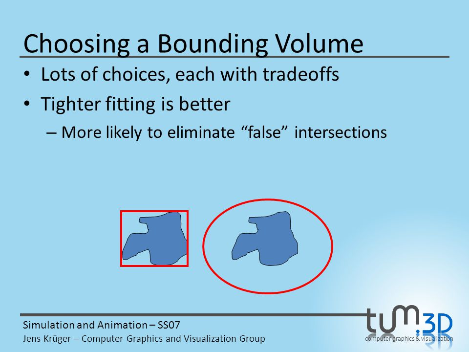 computer graphics & visualization Simulation and Animation – SS07 Jens Krüger – Computer Graphics and Visualization Group Choosing a Bounding Volume Lots of choices, each with tradeoffs Tighter fitting is better – More likely to eliminate false intersections