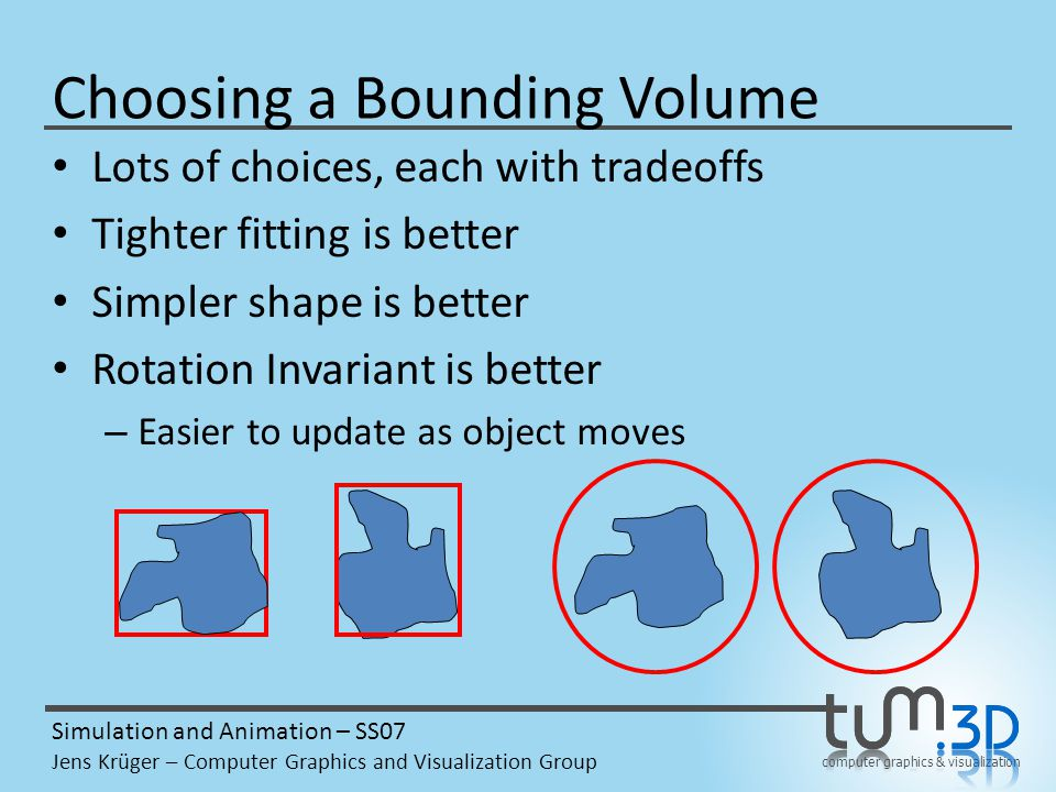 computer graphics & visualization Simulation and Animation – SS07 Jens Krüger – Computer Graphics and Visualization Group Choosing a Bounding Volume Lots of choices, each with tradeoffs Tighter fitting is better Simpler shape is better Rotation Invariant is better Convex is usually better – Gives simpler shape, easier computation