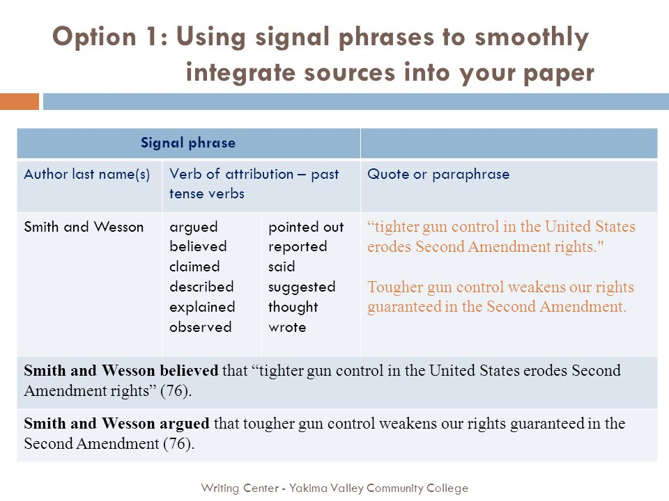 Option 1: Using signal phrases to smoothly integrate sources into your paper Writing Center - Yakima Valley Community College Signal phrase Author last name(s)Verb of attribution – past tense verbs Quote or paraphrase Smith and Wessonargued believed claimed described explained observed pointed out reported said suggested thought wrote tighter gun control in the United States erodes Second Amendment rights. Tougher gun control weakens our rights guaranteed in the Second Amendment.