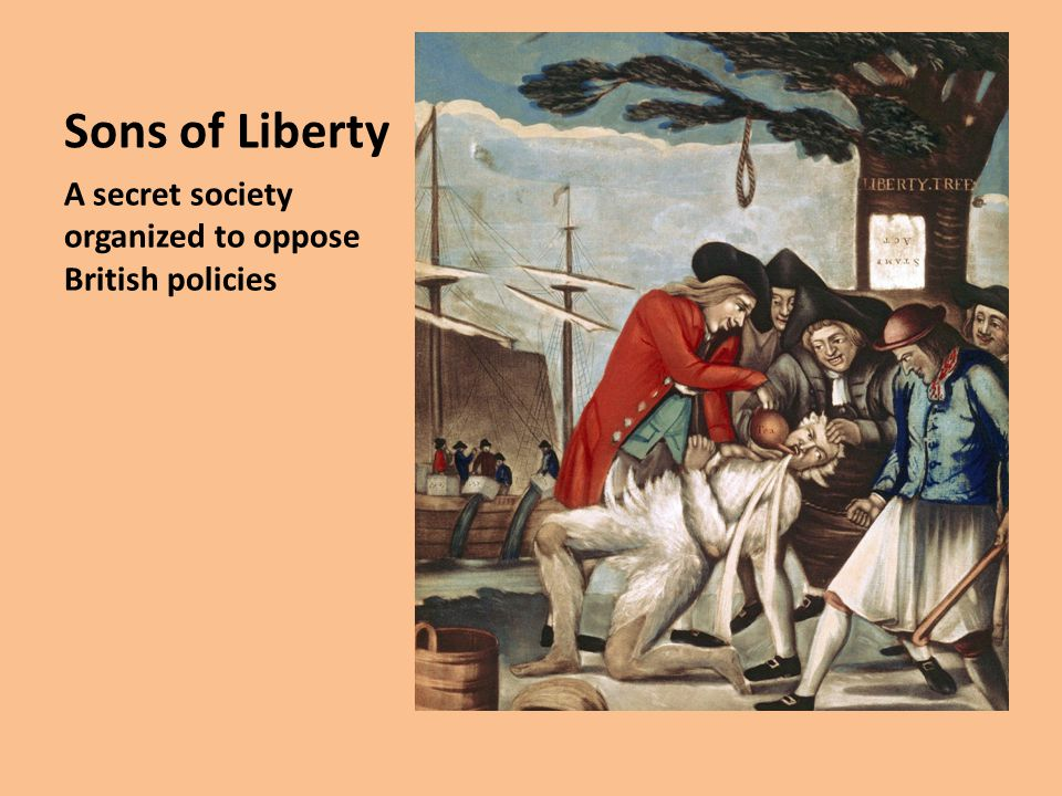 Sons of Liberty A secret society organized to oppose British policies