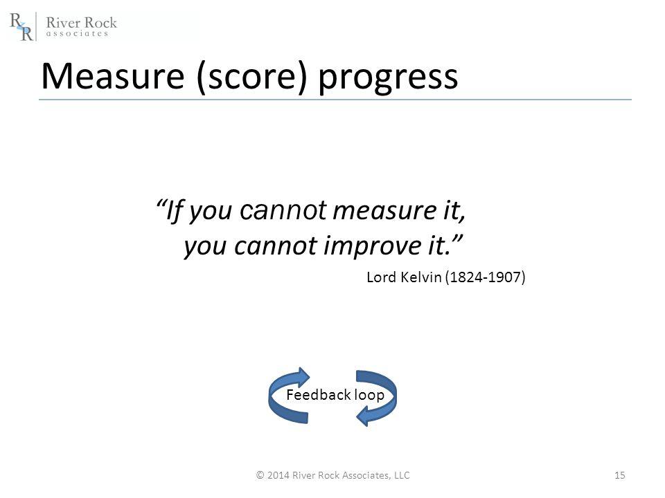 Measure (score) progress © 2014 River Rock Associates, LLC15 If you cannot measure it, you cannot improve it. Lord Kelvin (1824-1907) Feedback loop