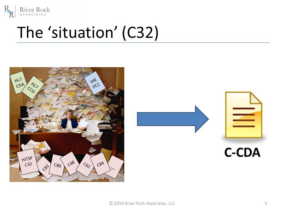The 'situation' (C32) © 2014 River Rock Associates, LLC5 C83 C80 HITSP C32 C48 IHE PCC C62 … C84 HL7 CDA HL7 CCD C-CDA