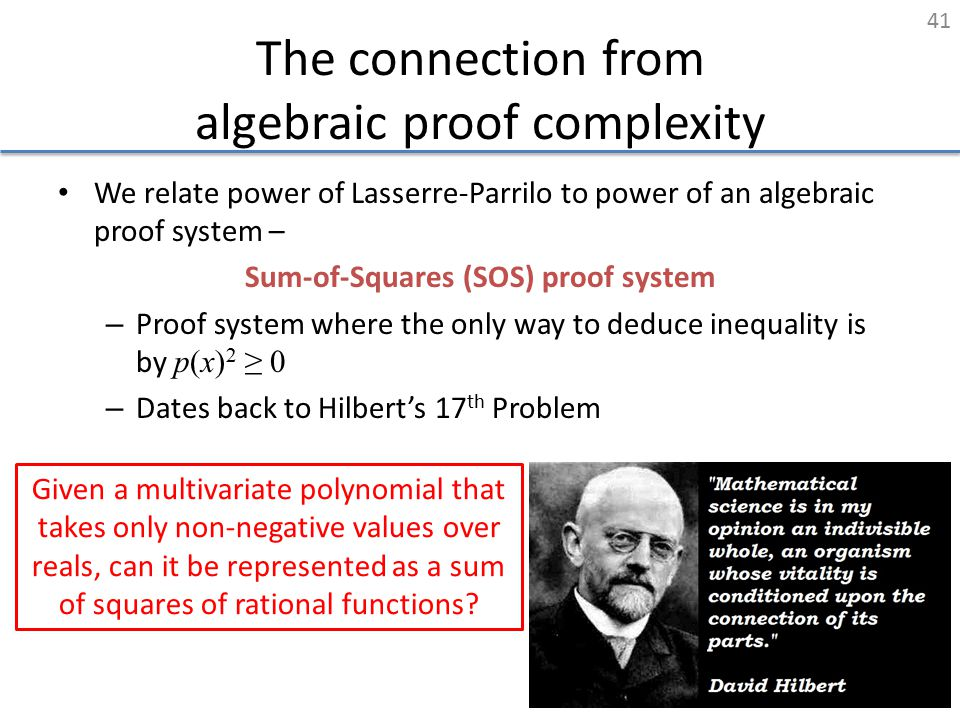 The connection from algebraic proof complexity We relate power of Lasserre-Parrilo to power of an algebraic proof system – Sum-of-Squares (SOS) proof