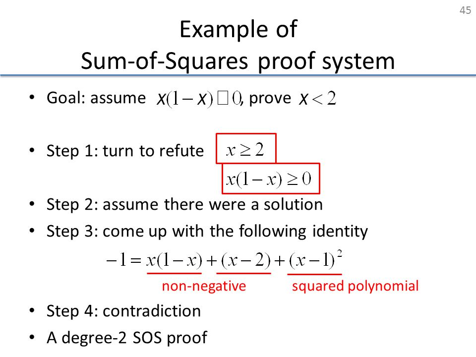 Example of Sum-of-Squares proof system Goal: assume, prove Step 1: turn to refute Step 2: assume there were a solution Step 3: come up with the follow