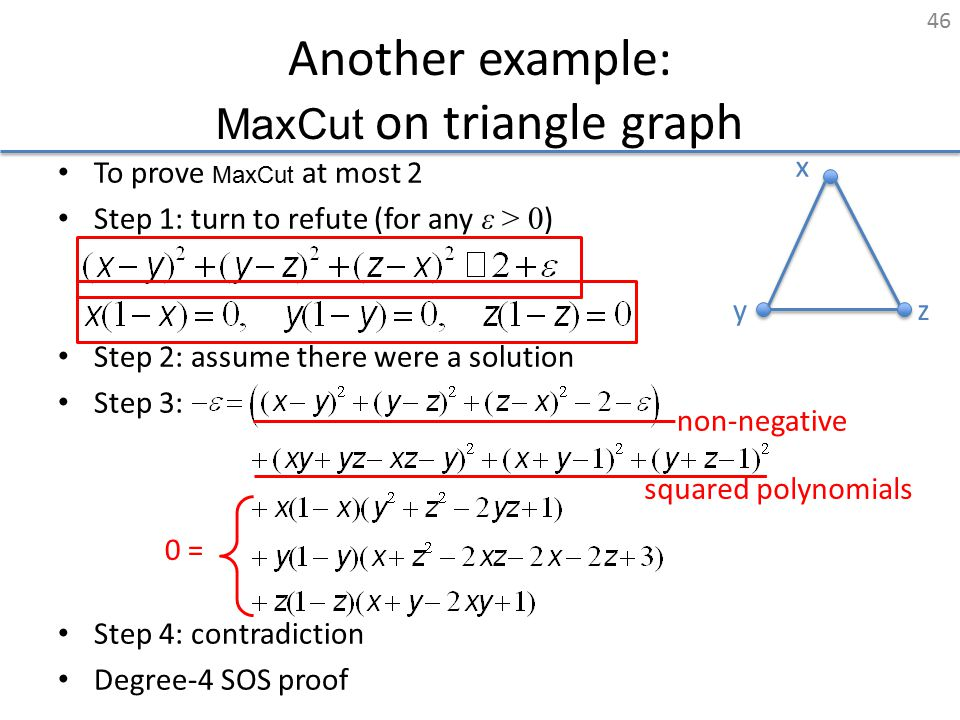 Another example: MaxCut on triangle graph To prove MaxCut at most 2 Step 1: turn to refute (for any ε > 0 ) Step 2: assume there were a solution Step