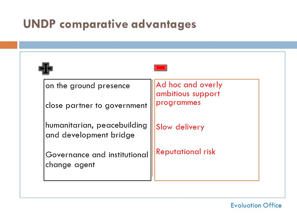 UNDP comparative advantages on the ground presence close partner to government humanitarian, peacebuilding and development bridge Governance and institutional change agent Ad hoc and overly ambitious support programmes Slow delivery Reputational risk Evaluation Office