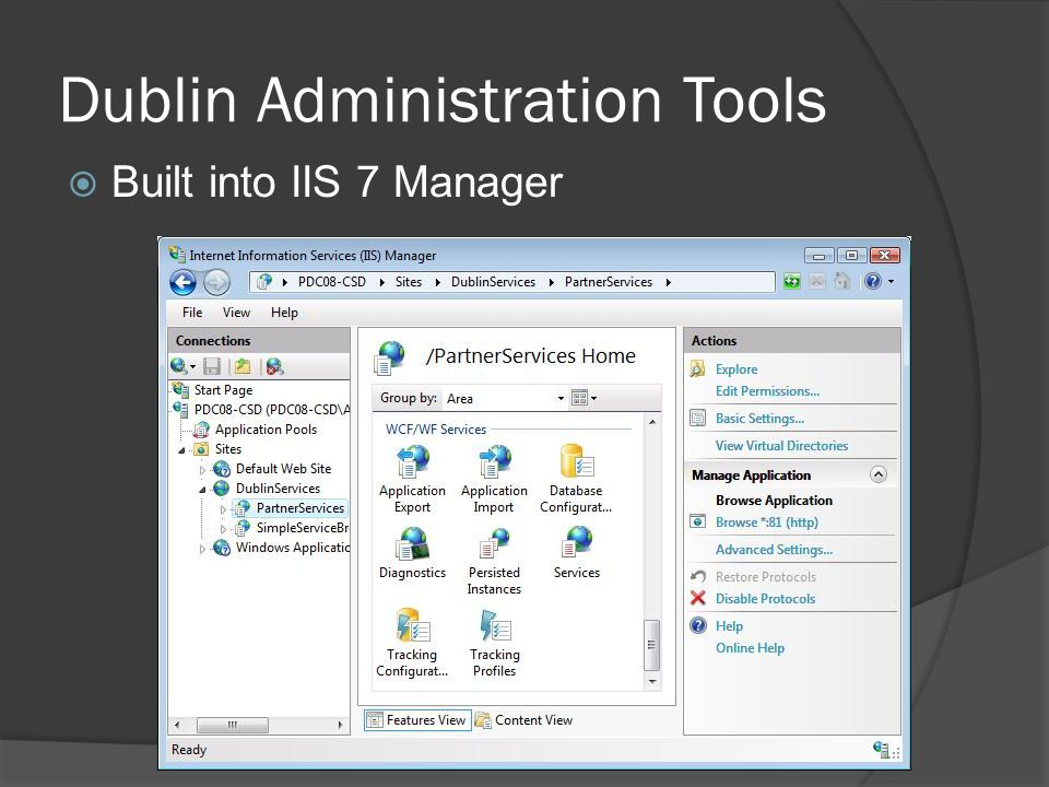 Dublin Administration Tools  Built into IIS 7 Manager