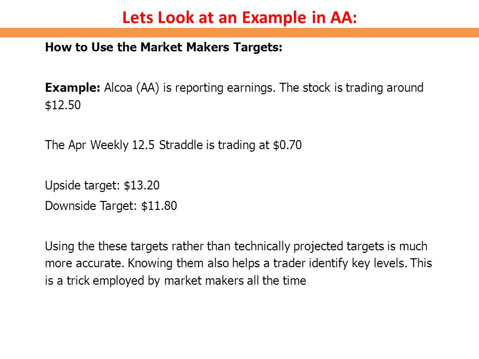 Lets Look at an Example in AA: How to Use the Market Makers Targets: Example: Alcoa (AA) is reporting earnings. The stock is trading around $12.50 The