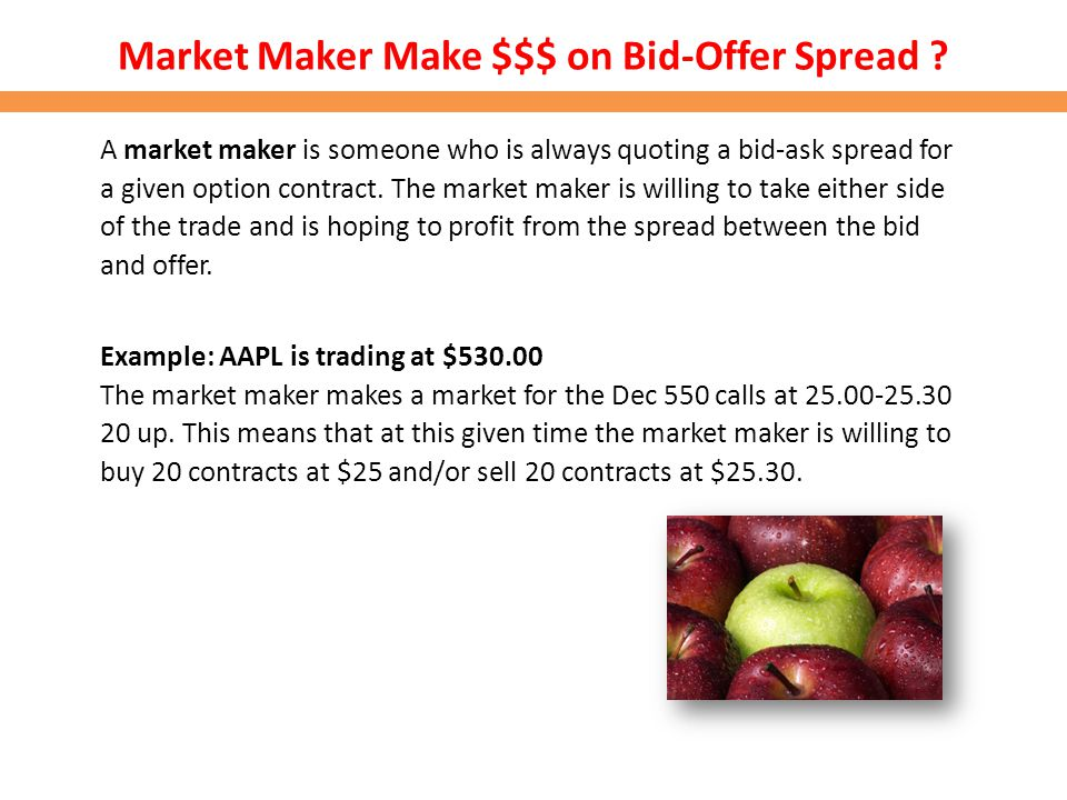 Market Maker Make $$$ on Bid-Offer Spread ? A market maker is someone who is always quoting a bid-ask spread for a given option contract. The market m