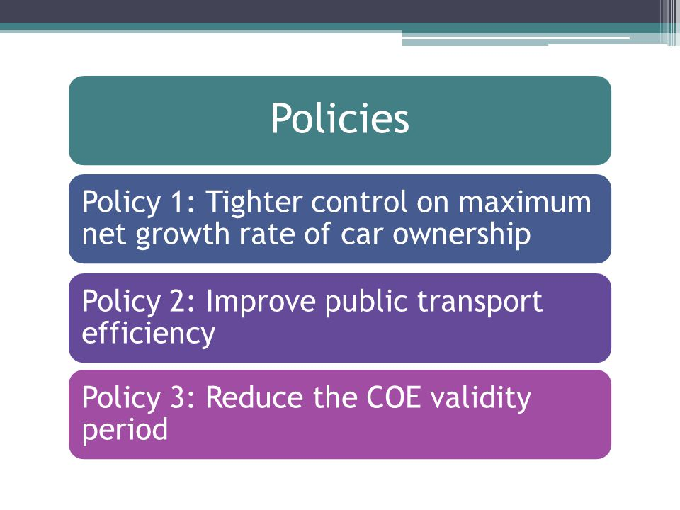 Policies Policy 1: Tighter control on maximum net growth rate of car ownership Policy 2: Improve public transport efficiency Policy 3: Reduce the COE validity period