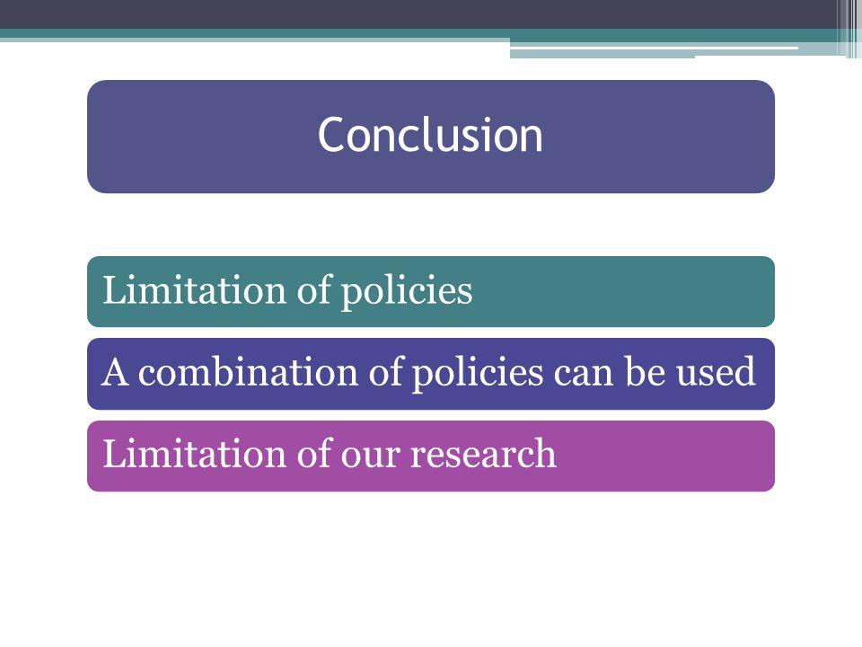 Conclusion Limitation of policiesA combination of policies can be usedLimitation of our research