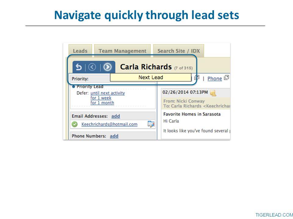 TIGERLEAD.COM Navigate quickly through lead sets