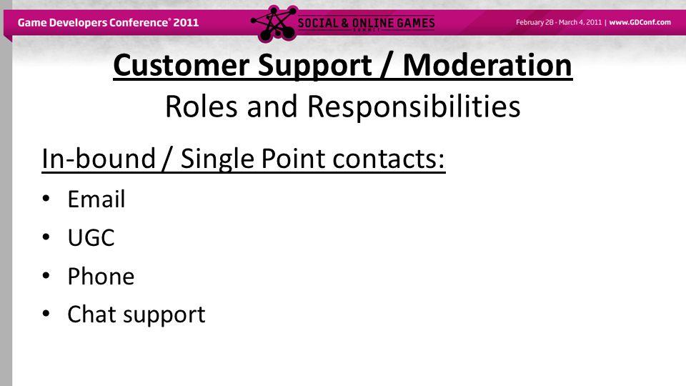 Customer Support / Moderation Organizational Structure CS – duh Moderation – a little more complicated