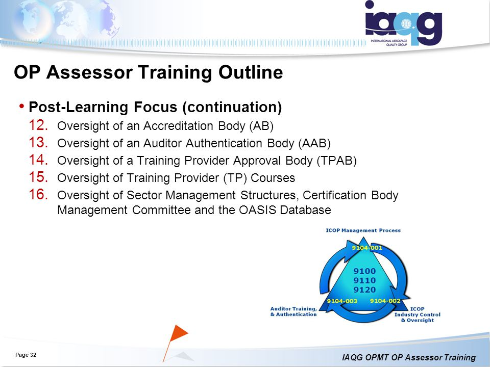 IAQG OPMT OP Assessor Training OP Assessor Training Outline Post-Learning Focus (continuation) 12.