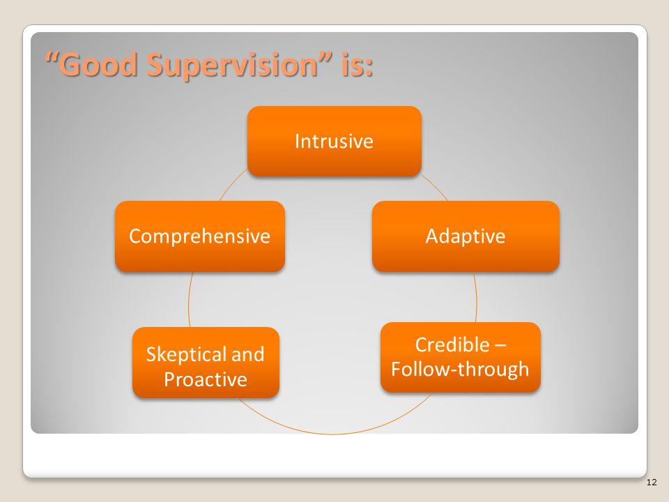 """Good Supervision"" is: IntrusiveAdaptive Credible – Follow-through Skeptical and Proactive Comprehensive 12"