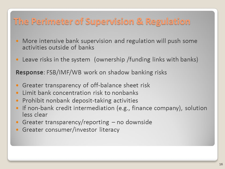 The Perimeter of Supervision & Regulation More intensive bank supervision and regulation will push some activities outside of banks Leave risks in the