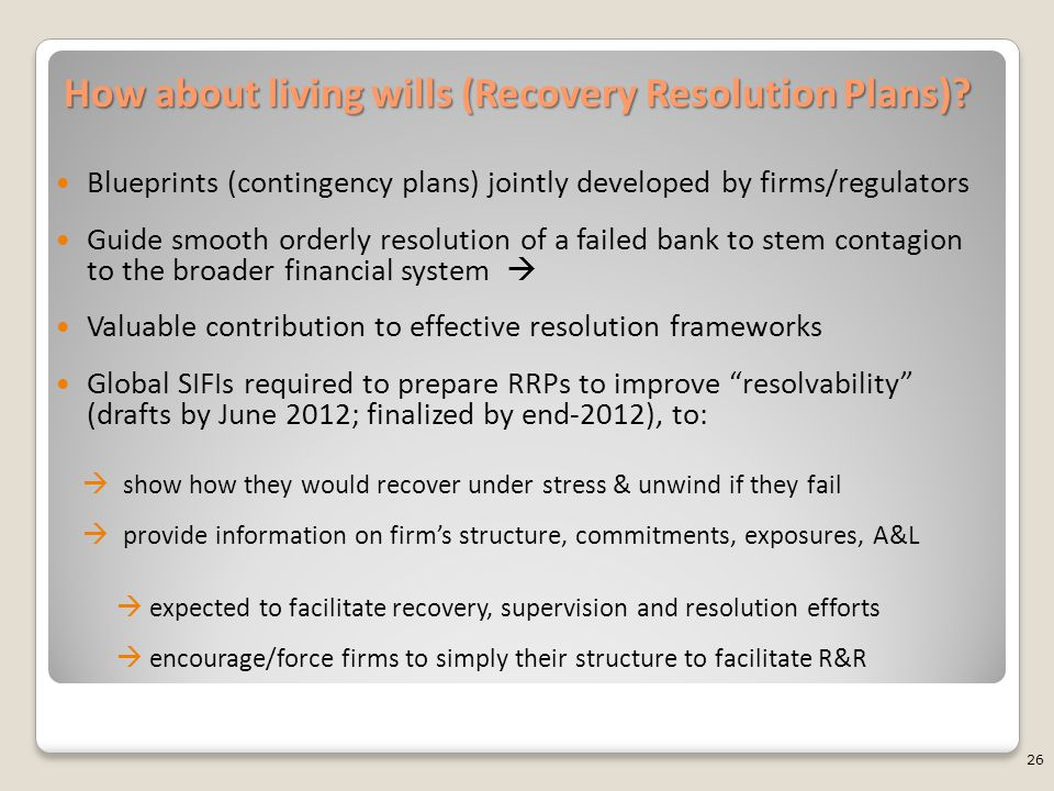How about living wills (Recovery Resolution Plans)? Blueprints (contingency plans) jointly developed by firms/regulators Guide smooth orderly resoluti