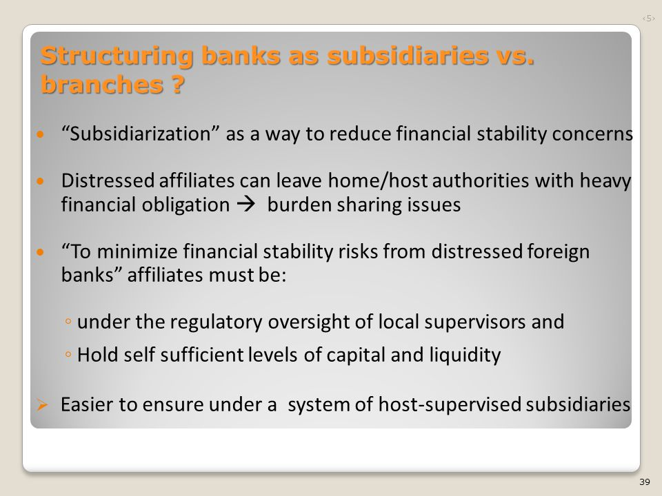 """""""Subsidiarization"""" as a way to reduce financial stability concerns Distressed affiliates can leave home/host authorities with heavy financial obligati"""