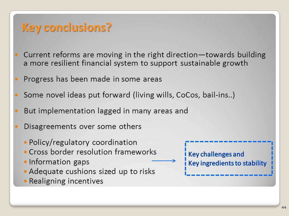 Key conclusions? Current reforms are moving in the right direction—towards building a more resilient financial system to support sustainable growth Pr