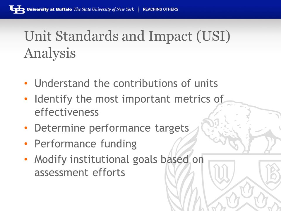 Unit Standards and Impact (USI) Analysis Understand the contributions of units Identify the most important metrics of effectiveness Determine performa