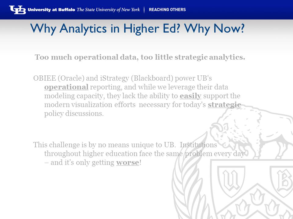 Why Analytics in Higher Ed? Why Now? Too much operational data, too little strategic analytics. OBIEE (Oracle) and iStrategy (Blackboard) power UB's o