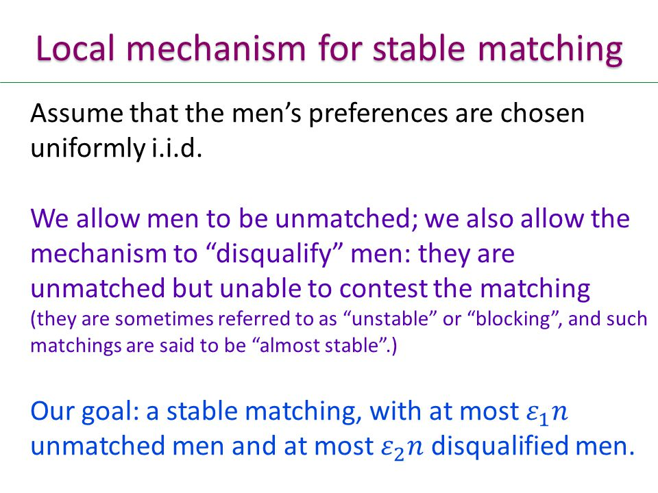 Local mechanism for stable matching