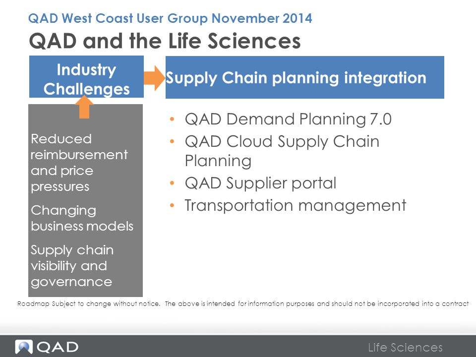 Life Sciences QAD Demand Planning 7.0 QAD Cloud Supply Chain Planning QAD Supplier portal Transportation management QAD and the Life Sciences Supply C