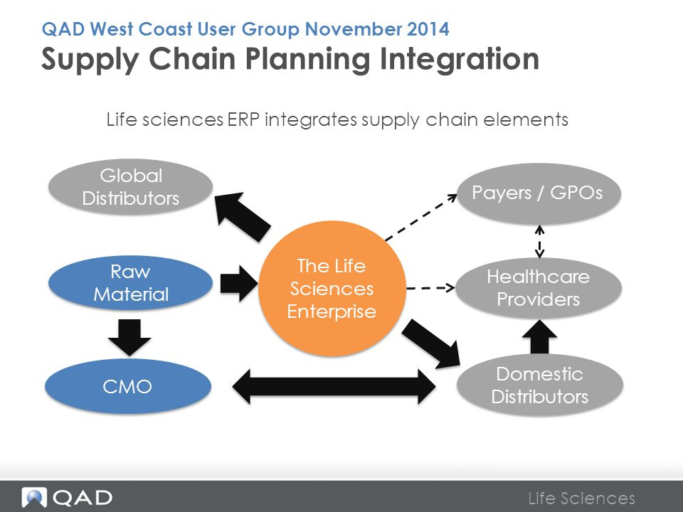 Life Sciences Supply Chain Planning Integration Global Distributors Domestic Distributors CMO Raw Material Healthcare Providers The Life Sciences Ente