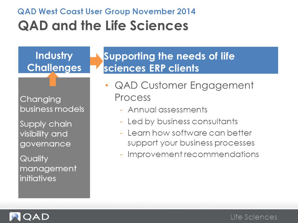 Life Sciences QAD and the Life Sciences Supporting the needs of life sciences ERP clients Industry Challenges Changing business models Supply chain vi