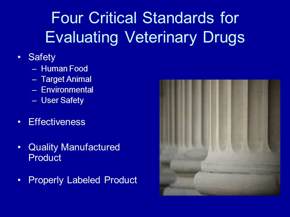 Safety –Human Food –Target Animal –Environmental –User Safety Effectiveness Quality Manufactured Product Properly Labeled Product Four Critical Standa
