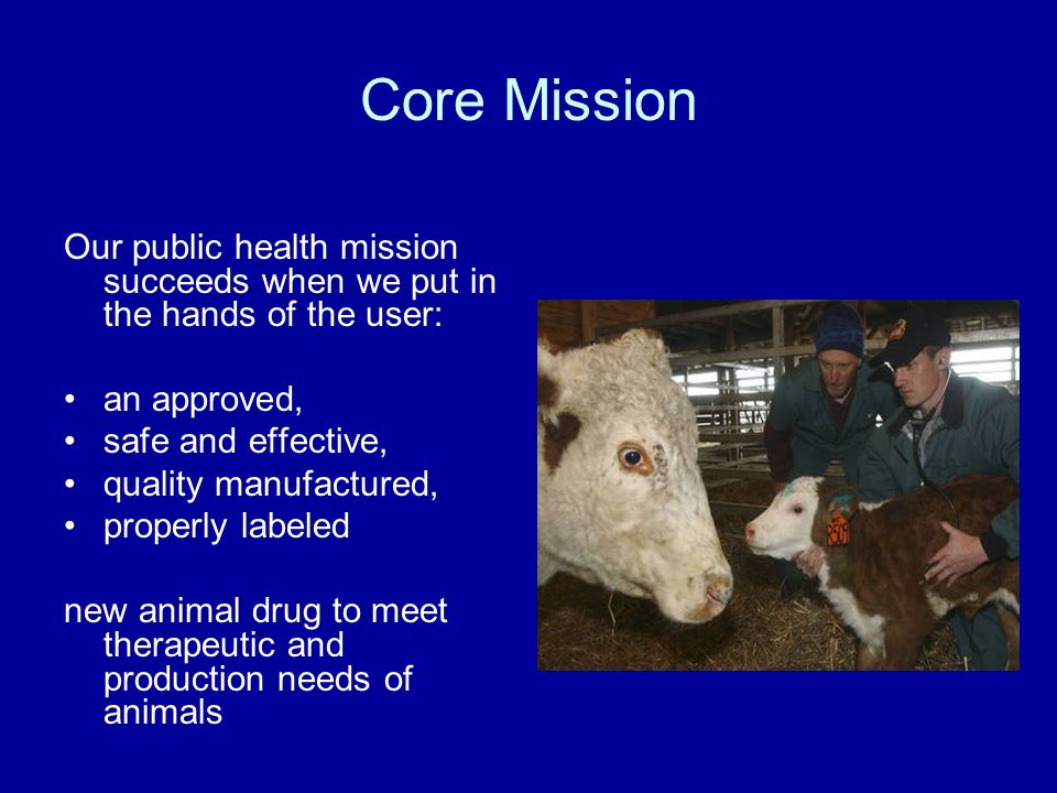 Our public health mission succeeds when we put in the hands of the user: an approved, safe and effective, quality manufactured, properly labeled new animal drug to meet therapeutic and production needs of animals Core Mission