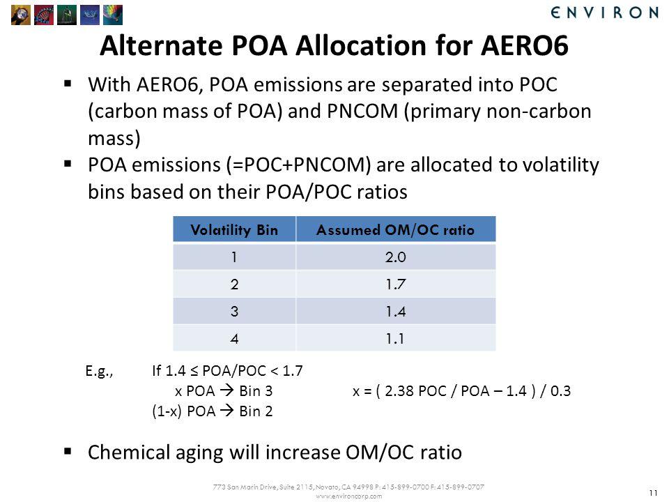 773 San Marin Drive, Suite 2115, Novato, CA 94998 P: 415-899-0700 F: 415-899-0707 www.environcorp.com Alternate POA Allocation for AERO6 11  With AERO6, POA emissions are separated into POC (carbon mass of POA) and PNCOM (primary non-carbon mass)  POA emissions (=POC+PNCOM) are allocated to volatility bins based on their POA/POC ratios Volatility BinAssumed OM/OC ratio 12.0 21.7 31.4 41.1 E.g.,If 1.4 ≤ POA/POC < 1.7 x POA  Bin 3x = ( 2.38 POC / POA – 1.4 ) / 0.3 (1-x) POA  Bin 2  Chemical aging will increase OM/OC ratio