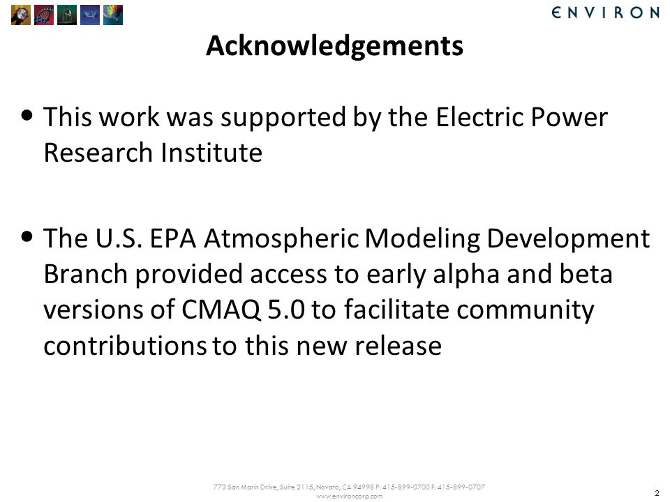 773 San Marin Drive, Suite 2115, Novato, CA 94998 P: 415-899-0700 F: 415-899-0707 www.environcorp.com Acknowledgements This work was supported by the Electric Power Research Institute The U.S.