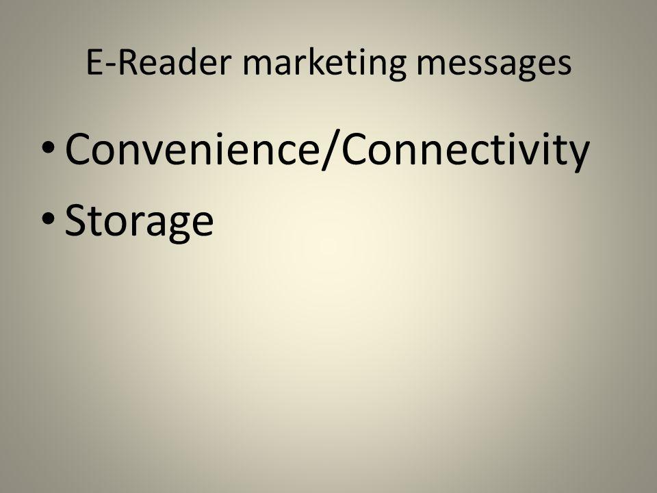 E-Reader marketing messages Convenience/Connectivity Storage