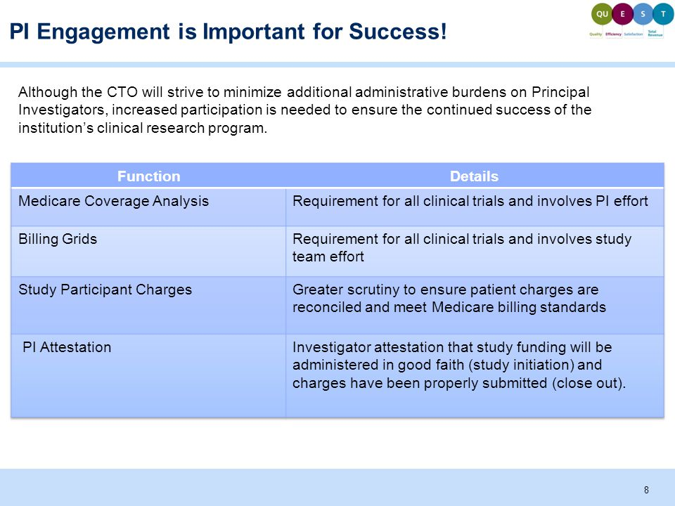 8 PI Engagement is Important for Success! Although the CTO will strive to minimize additional administrative burdens on Principal Investigators, incre