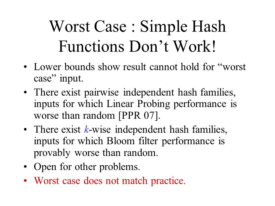 Worst Case : Simple Hash Functions Don't Work.