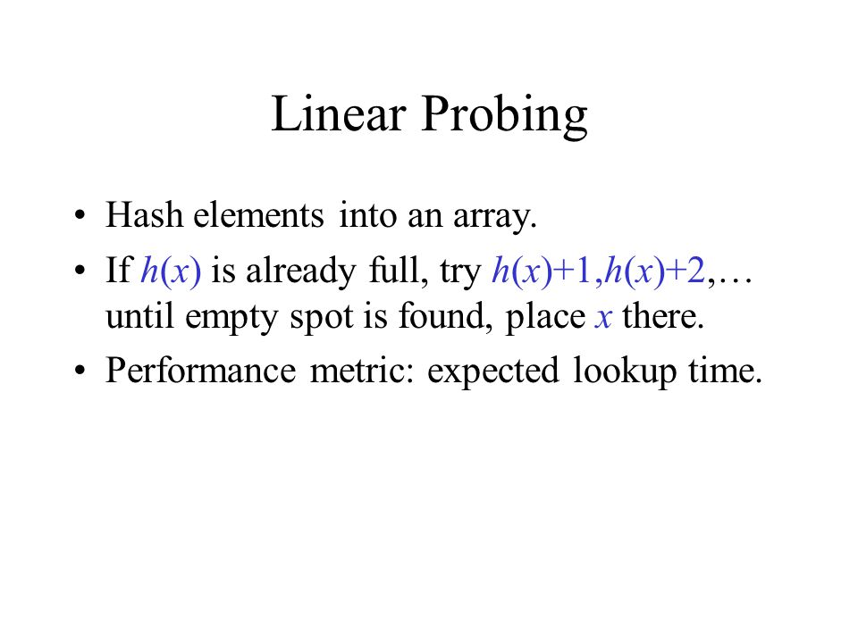 Linear Probing Hash elements into an array.