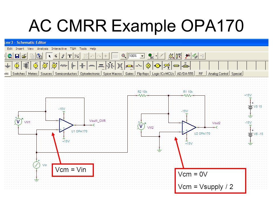 AC CMRR Example OPA170 Vcm = Vin Vcm = 0V Vcm = Vsupply / 2