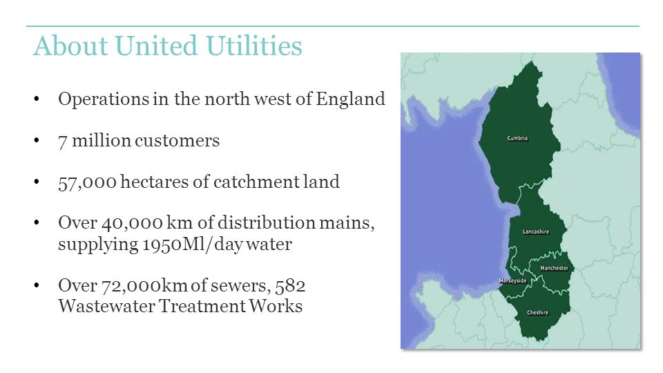 About United Utilities Operations in the north west of England 7 million customers 57,000 hectares of catchment land Over 40,000 km of distribution mains, supplying 1950Ml/day water Over 72,000km of sewers, 582 Wastewater Treatment Works