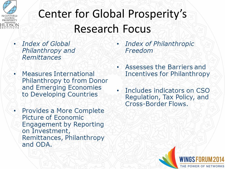 Center for Global Prosperity's Research Focus Index of Global Philanthropy and Remittances Measures International Philanthropy to from Donor and Emerging Economies to Developing Countries Provides a More Complete Picture of Economic Engagement by Reporting on Investment, Remittances, Philanthropy and ODA.
