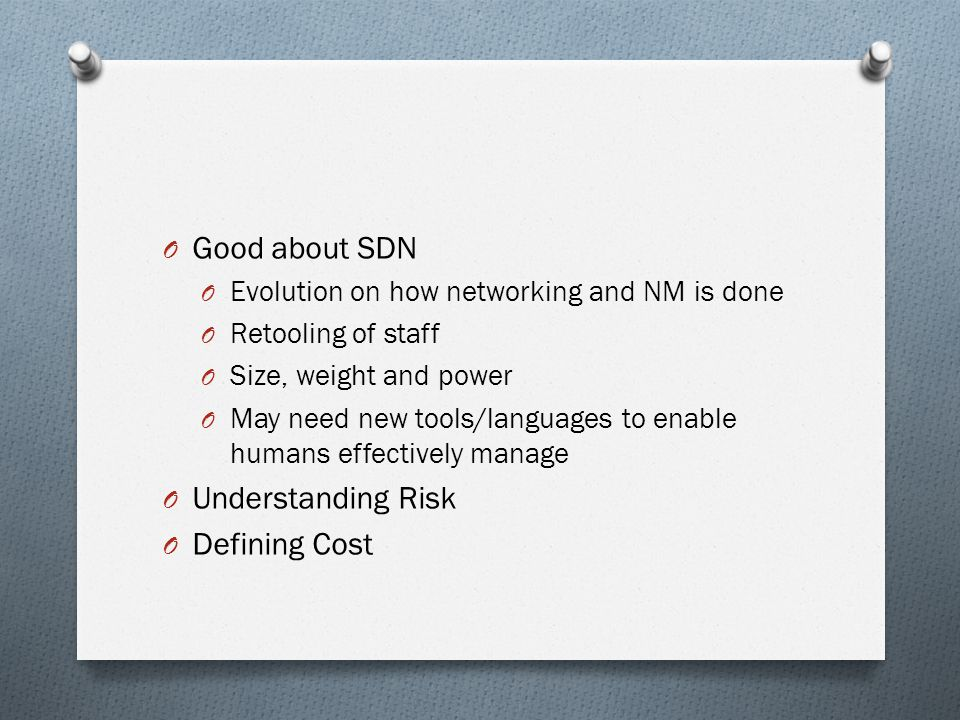 O Cognitive Radios O Is SDN an enabler of cognitive networking.