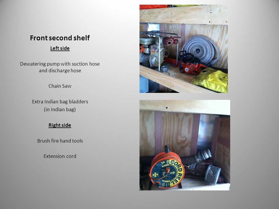 Front second shelf Left side Dewatering pump with suction hose and discharge hose Chain Saw Extra Indian bag bladders (in Indian bag) Right side Brush