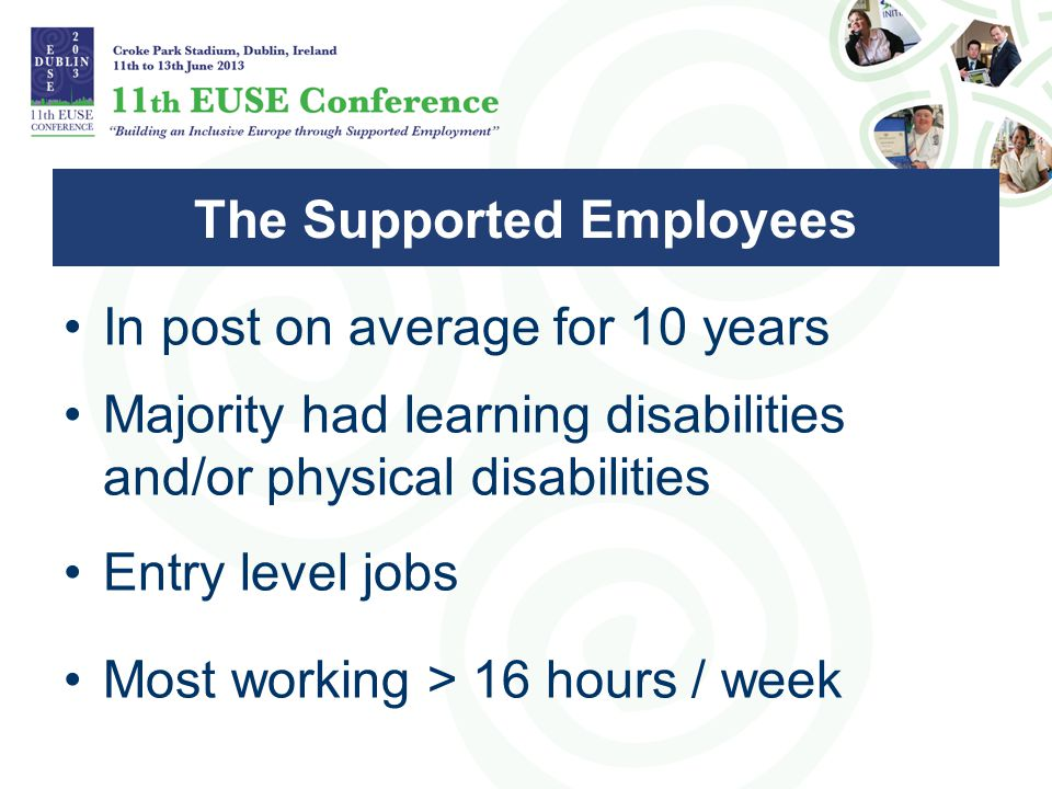 In post on average for 10 years Majority had learning disabilities and/or physical disabilities Entry level jobs Most working > 16 hours / week The Supported Employees