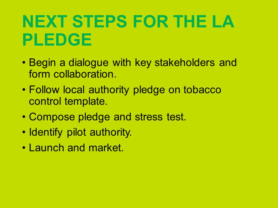 NEXT STEPS FOR THE LA PLEDGE Begin a dialogue with key stakeholders and form collaboration.