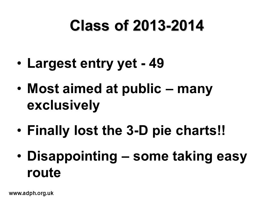 Class of 2013-2014 Largest entry yet - 49 Most aimed at public – many exclusively Finally lost the 3-D pie charts!.