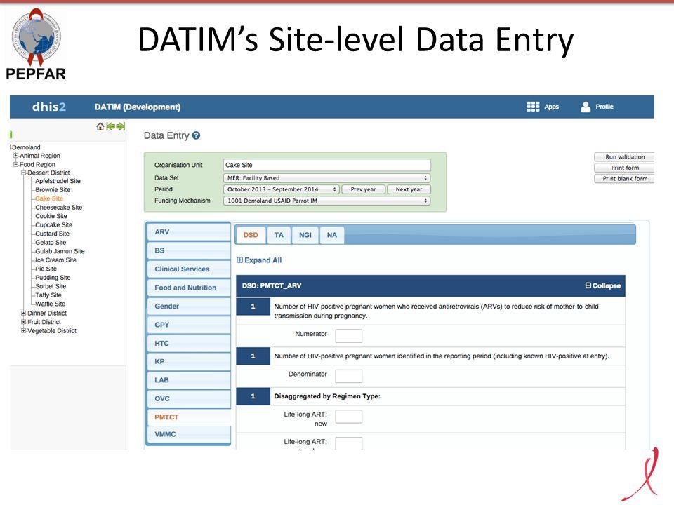 DATIM's Site-level Data Entry