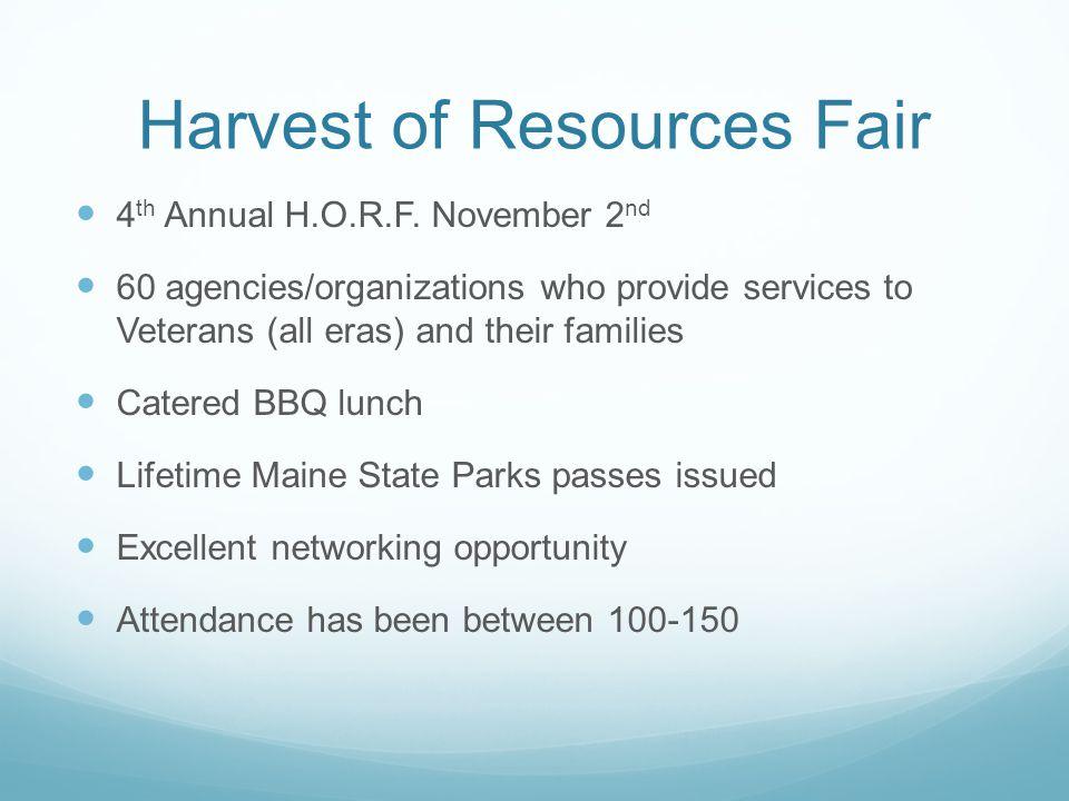 Harvest of Resources Fair 4 th Annual H.O.R.F.